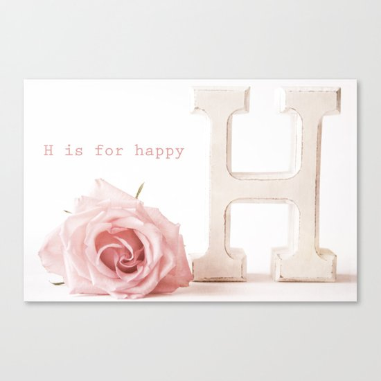 H is For Happy Canvas Print