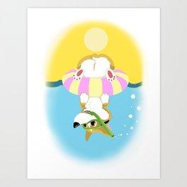 Summer Corgi Art Print