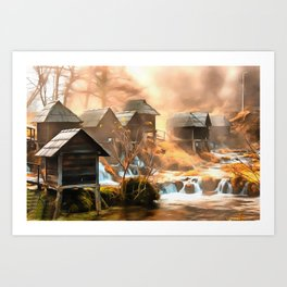 Watermills of Jajce Art Print