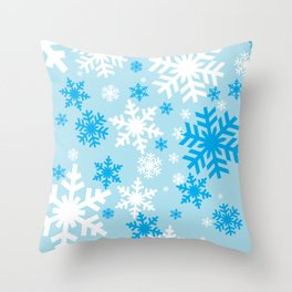 Blue Snowflakes Throw Pillow