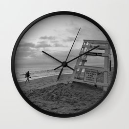 Empty Lifeguard Stand At The Beach Wall Clock