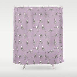 Skeleton Yoga_Lavender Frost Shower Curtain