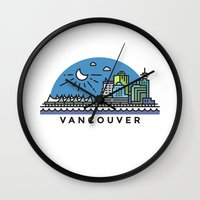vancouver Wall Clocks featuring Vancouver by Campbell Graphix