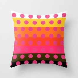Earth and Summer Sky - Color Strips with Pink Dots Throw Pillow