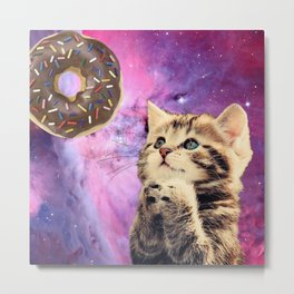 Donut Praying Cat Metal Print