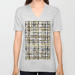 Black and Gold Loose Plaid Unisex V-Neck
