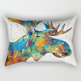 Colorful Moose Art - Confetti - By Sharon Cummings Rectangular Pillow