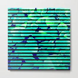 leaf print stripe Metal Print