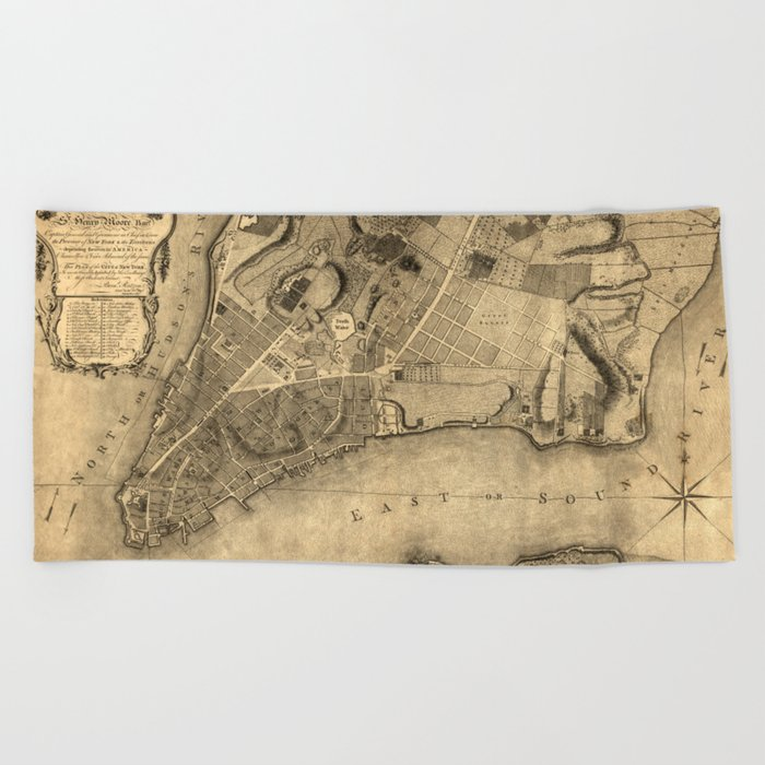 Map Of New York 1776.Map Of New York 1776 Beach Towel