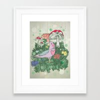 woodland Framed Art Prints featuring Woodland by Jo Cheung Illustration