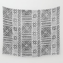 Line Mud Cloth // Light Grey Wall Tapestry