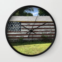 Blue Sky and 50 Stars Wall Clock
