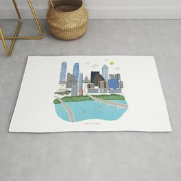 Austin Skyline Illustration Rug