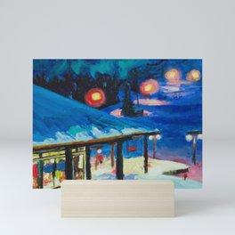 Night Skiing Mini Art Print