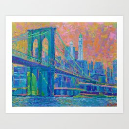 """Brooklyn Bridge"" palette knife urban city landscape painting by Adriana Dziuba Art Print"