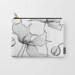 Black and White Poppies Carry-All Pouch