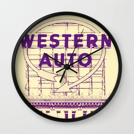 Western Auto Neon Sign In Downtown Kansas City Wall Clock