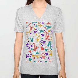 Colorful Music Instruments Pattern Unisex V-Neck