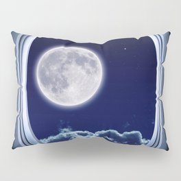 Airplane window with Moon, porthole #3 Pillow Sham