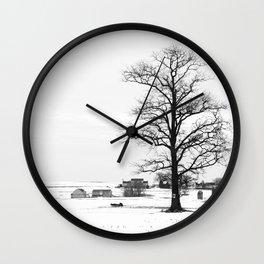 Big tree over the farm Wall Clock