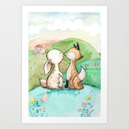 Rabbit and fox Art Print