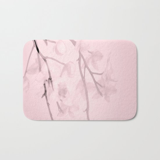 Flower branches on a pastel pink background - spring mood Bath Mat