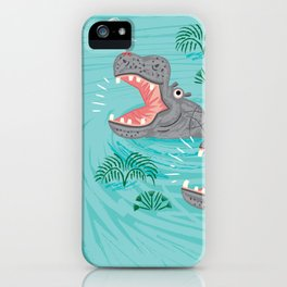 Crocodiles and Hippos iPhone Case