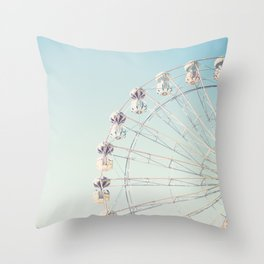 Soft blue ferris wheel  Throw Pillow