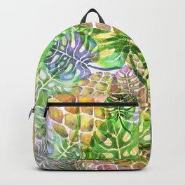 Monstera Pineapple Sky River Reflection Spring Summer Backpack