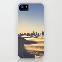 Snow covered Lapland in clear sunny day sunset iPhone Case