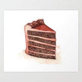 Chocolate Layer Cake Slice Art Print