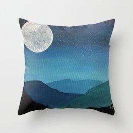 Moon over Mountains Throw Pillow