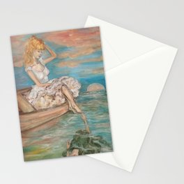 could we be friends? Bffs bestfriends mermaid and beautiful lady boat on the ocean at sunset Stationery Cards