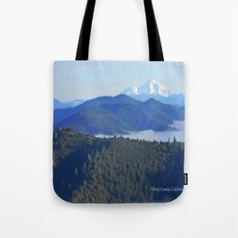 Past the drifting fog is Mount Lassen... Tote Bag
