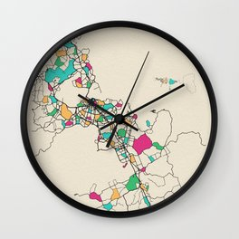 Colorful City Maps: Auckland, New Zealand Wall Clock
