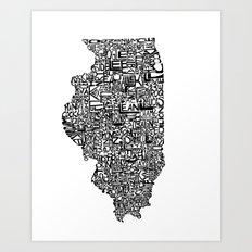 Typographic Illinois Art Print