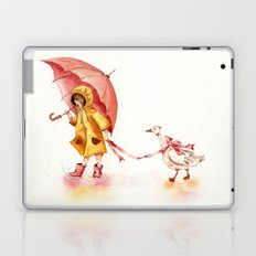 Rainy Day - Girl in a Yellow Rain Coat with Read Umbrella and with a Goose Laptop & iPad Skin