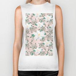 Blush pink watercolor forest green white magnolia blossom Biker Tank