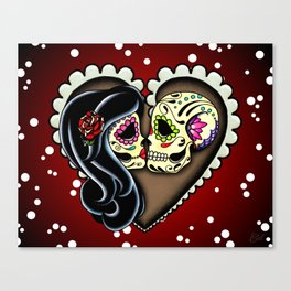 Ashes - Day of the Dead Couple - Kissing Sugar Skull Lovers Canvas Print