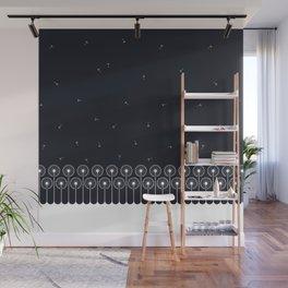 Dandelion border white on black Wall Mural