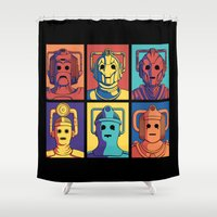 evolution Shower Curtains featuring Cyberpop Evolution by Doodle Dojo