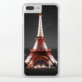 Paris Eiffel Tower Pink Night Clear iPhone Case