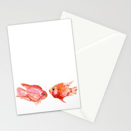 Two Love Fish, Fish art, Love, aquarium design, Parrot Cichlids Stationery Cards