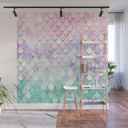 Iridescent Mermaid Pastel and Gold Wall Mural