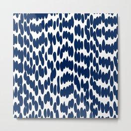 Abstract Art, Navy Blue, Fun Art Print Design Metal Print