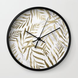 Gold and Marble Leaves Wall Clock