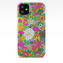 60's Groovy Garden in Blue iPhone Case