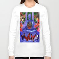 nirvana Long Sleeve T-shirts featuring Reaching Nirvana Gautama Buddha by Joseph Mosley