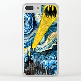 batmans logo stary night Clear iPhone Case