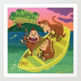 Monkeys on a Boat Art Print